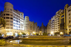 Placa del Ajuntament in summer evening. Valencia Stock Photography