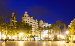 Placa del Ajuntament in summer evening. Valencia Stock Images