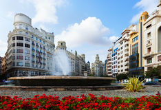 Placa del Ajuntament in  Valencia, Spain Royalty Free Stock Images