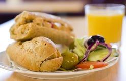 Placa del almuerzo del emparedado Foto de archivo