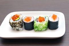 Placa del caviar del sushi Imagen de archivo
