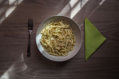 Placa del espagueti Fotografía de archivo libre de regalías