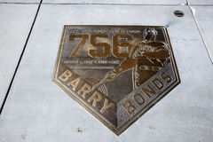 Placa del home run de Barry Bonds Foto de archivo
