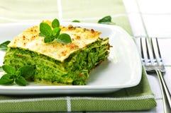Placa del lasagna vegeterian Imagen de archivo libre de regalías