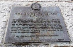 Placa del puente de Blooklyn, Nueva York Fotos de archivo