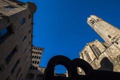 Placa del Rei e major de Palau Reial em Barcelona Imagens de Stock