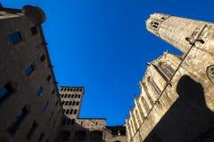 Placa del Rei och Palau Reial ha som huvudämne i Barcelona Royaltyfri Foto