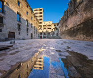 Placa del Rei and Palau Reial Major in Barcelona, Catalynia Royalty Free Stock Images