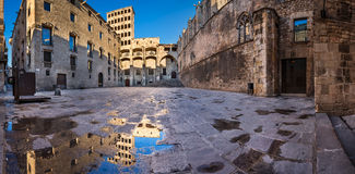 Placa del Rei and Palau Reial Major in Barcelona, Catalynia. Spain stock photography