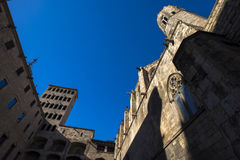 Placa del Rei and Palau Reial Major in Barcelona Royalty Free Stock Photography