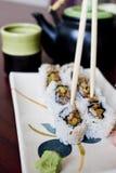 Placa del rodillo del sushi Imágenes de archivo libres de regalías