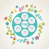Placa del seder de la pascua judía con la decoración floral Foto de archivo