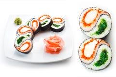 Placa del sushi con el jengibre Imagen de archivo