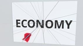Placa del texto de la ECONOMÍA que es golpeada por la flecha del tiro al arco Animación conceptual 3D stock de ilustración