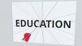 Placa del texto de la EDUCACIÓN que es golpeada por la flecha del tiro al arco Animación conceptual 3D ilustración del vector