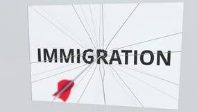 Placa del texto de la INMIGRACIÓN que es golpeada por la flecha del tiro al arco Animación conceptual 3D libre illustration