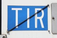 Placa del TIR imagenes de archivo