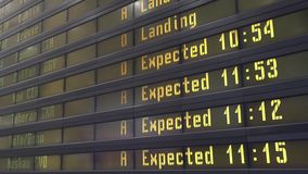 Placa digital do calendário em um aeroporto filme