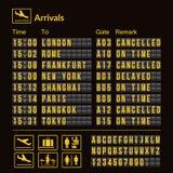 Placa do aeroporto do vetor isolada Molde realístico do aeroporto do placar da aleta Placa preta do aeroporto 3d com alfabeto e n ilustração stock