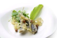 Placa do aperitivo das anchovas postas de conserva peixes 1 Imagem de Stock Royalty Free