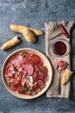Placa do assorti da carne fotografia de stock