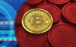 placa do bitcoin 3d Imagens de Stock Royalty Free