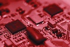 Placa do computador com microplaquetas Imagens de Stock Royalty Free