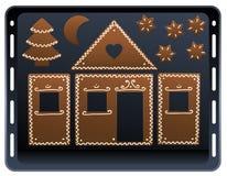 Placa do cozimento da casa de pão-de-espécie Foto de Stock Royalty Free