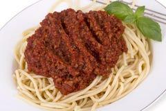 Placa do espaguete Bolonhês Fotos de Stock