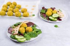 Placa do falafel cozido com pão do pão árabe, molho do tzatziki e folhas da salada imagens de stock