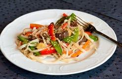 Placa do frigideira chinesa da carne Foto de Stock Royalty Free