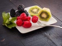 Placa do fruto fresco pronto para comer fotos de stock royalty free