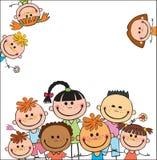 Placa do fundo do vetor com acampamento de verão das crianças Fotografia de Stock Royalty Free