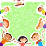 Placa do fundo do vetor com acampamento de verão das crianças Fotografia de Stock