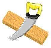 Placa do Handsaw e da madeira Fotografia de Stock Royalty Free