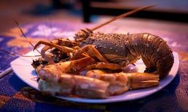 Placa do marisco do marisco crustáceo com lagosta fresca, mexilhões, Imagem de Stock Royalty Free
