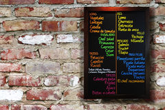 Placa do menu. imagem de stock