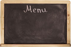 Placa do menu do restaurante no quadro-negro Isolado sobre o fundo branco Fotografia de Stock