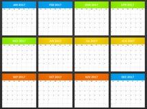 Placa do planejador dos EUA para 2017 Planificador, agenda ou molde do diário Começos da semana em domingo Imagem de Stock Royalty Free