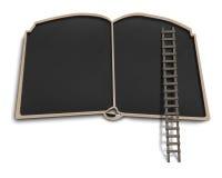 Placa do preto da forma do livro com escada de madeira Fotografia de Stock