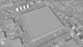 Placa do PWB cinzento ou de circuito impresso Animação 3D conceptual ilustração royalty free