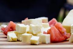Placa do queijo de feta fotografia de stock