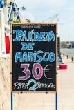 Placa do restaurante na costa de mar, a Andaluzia imagens de stock