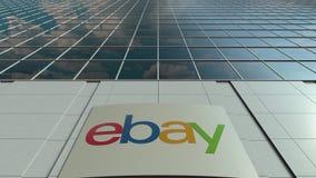 Placa do Signage com eBay Inc logo Lapso de tempo moderno da fachada do prédio de escritórios Rendição 3D editorial filme