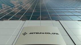 Placa do Signage com Mitsui e Co logo Lapso de tempo moderno da fachada do prédio de escritórios Rendição 3D editorial vídeos de arquivo