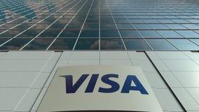 Placa do Signage com visto Inc logo Lapso de tempo moderno da fachada do prédio de escritórios Rendição 3D editorial video estoque