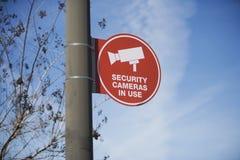 Placa do sinal da câmara de segurança Imagens de Stock Royalty Free