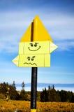 Placa do sinal de estrada do metal amarelo Sorriso Imagem de Stock