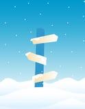 Placa do sinal de sentido - inverno Imagens de Stock