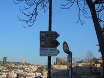 Placa do sinal no Jerusalém Fotografia de Stock Royalty Free